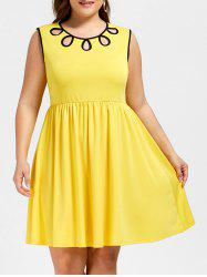 Plus Size Sleeveless Cut Out A Line Dress