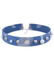 Rhinestone Denim Flower Leaf Choker Necklace