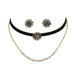 Beaded Sunflower Choker Necklace and Earrings -