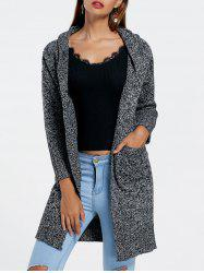 Hooded Heathered Longline Cardigan