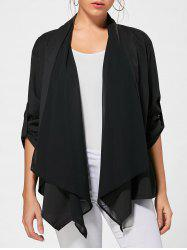 Draped Asymmetric Long Sleeves Cardigan