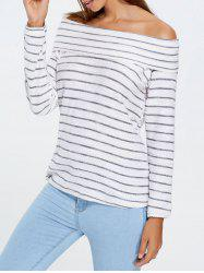 Off Shoulder Long Sleeve Striped Top