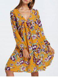 V Neck Print Long Sleeve Dress - YELLOW S