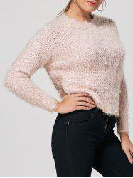 Faux Pearl Embellished Fuzzy Sweater - LIGHT PINK