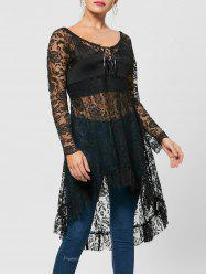 Lace Up Longline High Low Hem Blouse