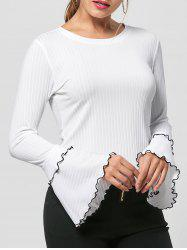 Striped Layered Flare Sleeve Knit Top -