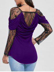 Sheer Lace Yoke Cowl Back Top - Noir et Violet XL