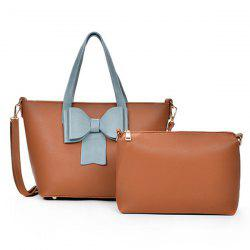 Color Block Bowknot 2 Pieces Handbag Set