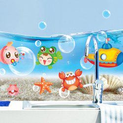 Cartoon Animal Sea World Wall Sticker - Bleu