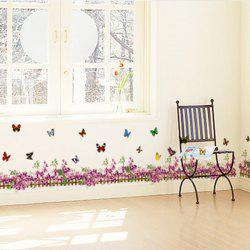 Flower Butterfly Fence Decorated Wall Sticker