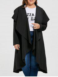 Open Front Plus Size Drape Maxi Coat