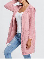 Front Pockets Knit Hooded Cardigan -