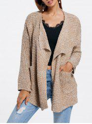 Front Pockets Heathered Asymmetric Cardigan