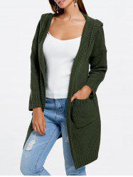 Front Pockets Knit Hooded Cardigan