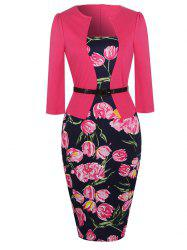 Floral Print Belted Bodycon Dress - TUTTI FRUTTI M