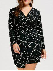 Printed V Neck Plus Size Dress with Sleeves