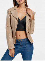 PU Leather Zipper Biker Jacket - KHAKI