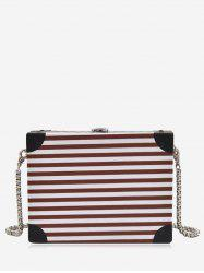 Striped Pattern Box Shaped Crossbody Bag