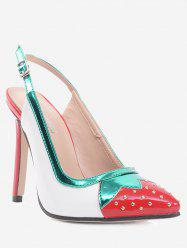 Strawberry Pattern Studded Pumps