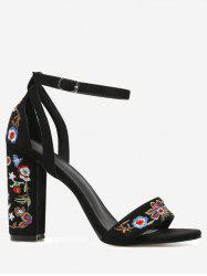 Ankle Strap Embroidered Block Heel Sandals
