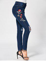 Button Up Distressed Embroidery Jeans