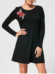 Mini Shift Long Sleeve Embroidery Dress