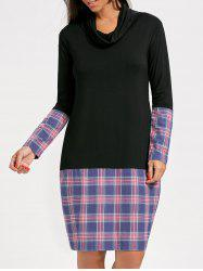 Plaid Insert Long Sleeve Cowl Neck Dress