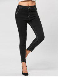 Embellished Topstitch Tight Jeans -