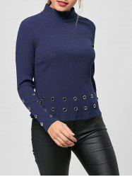 High Neck Grommets Decorated Knit Top