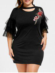 Plus Size Cut Out Floral Embroidered Mini Dress
