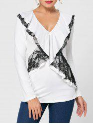 Ruffle Lace Trim Long Sleeve Top