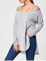 Lattice Long Sleeve High Low Top