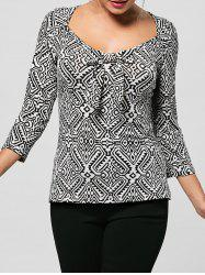 Bowknot Decorated Monochrome Top