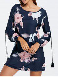 Mini Shift Long Sleeve Flower Dress - BLACK S