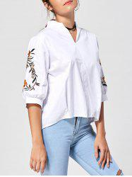 Back Button Stand Collar Embroidery Blouse -