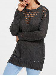 Hollow Out Side Slit Tunic Sweater -