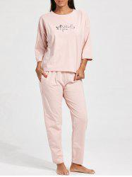 Pajamas Batwing Sleeve T-shirt and Pants -