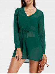 Surplice Sheer Drawstring Waist Dress -