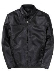 Zip Up Padded PU Leather Jacket -