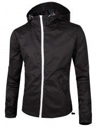 Retour imprimé graphique Zip Up Windbreaker Jacket - Noir XL