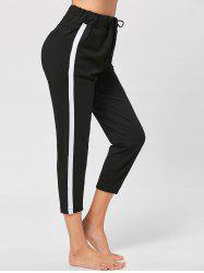 Two Tone Drawstring Waist Cropped Pants -