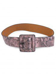 Faux Leather Rectangle Pin Buckle Snakeskin Belt -