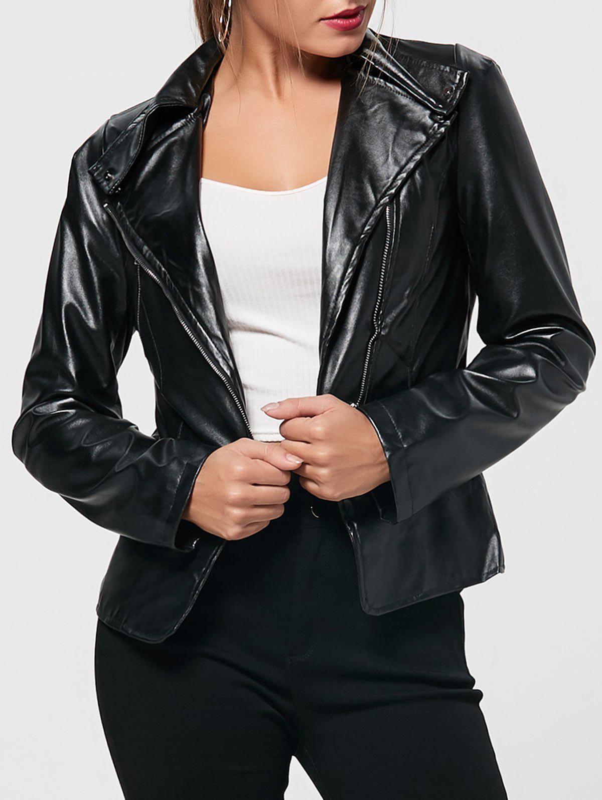 Outfit PU Leather Zipper Biker Jacket