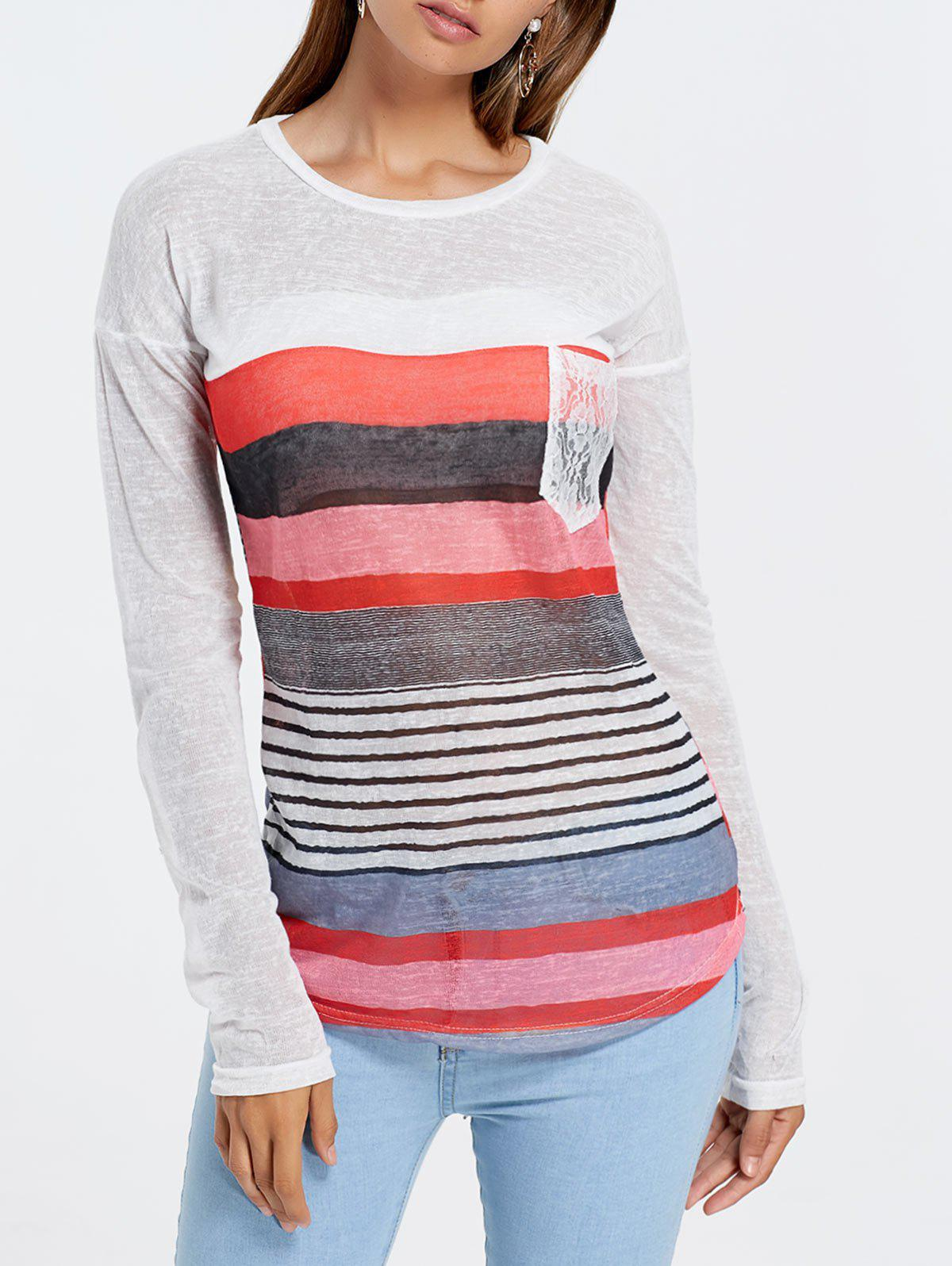Long Sleeve Striped Irregular Sheer T-shirtWOMEN<br><br>Size: L; Color: COLORMIX; Material: Polyester; Sleeve Length: Full; Collar: Jewel Neck; Style: Fashion; Pattern Type: Striped; Season: Spring,Fall; Weight: 0.191kg; Package Contents: 1 x T-Shirt;