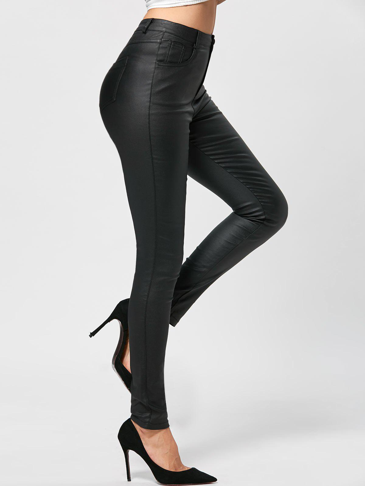Five Pockets PU Leather Tight PantsWOMEN<br><br>Size: XL; Color: BLACK; Style: Fashion; Length: Normal; Material: Polyester,Spandex; Fit Type: Skinny; Waist Type: Mid; Closure Type: Zipper Fly; Pattern Type: Solid; Pant Style: Pencil Pants; Weight: 0.3700kg; Package Contents: 1 x Pants;