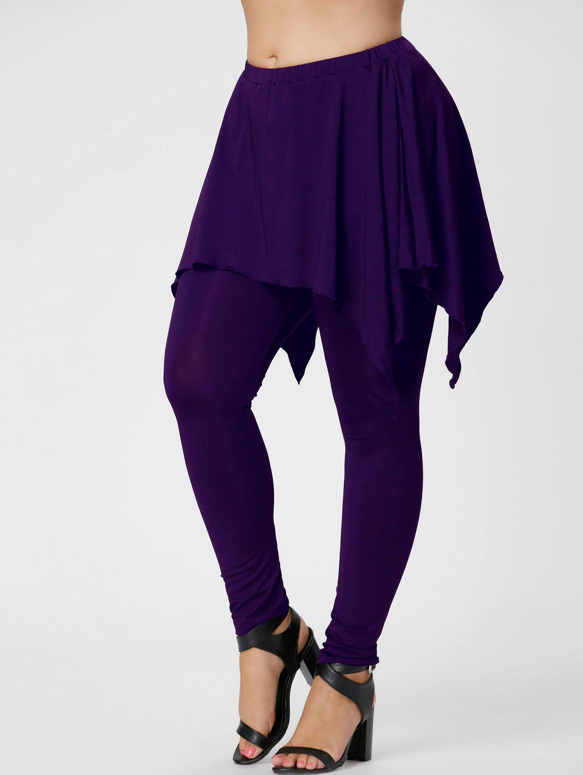 Plus Size Handerchief Skirt LenggingsWOMEN<br><br>Size: 5XL; Color: PURPLE; Style: Active; Length: Normal; Material: Polyester,Spandex; Fit Type: Skinny; Waist Type: Mid; Closure Type: Elastic Waist; Pattern Type: Solid; Pant Style: Pencil Pants; Weight: 0.3600kg; Package Contents: 1 x Pants;