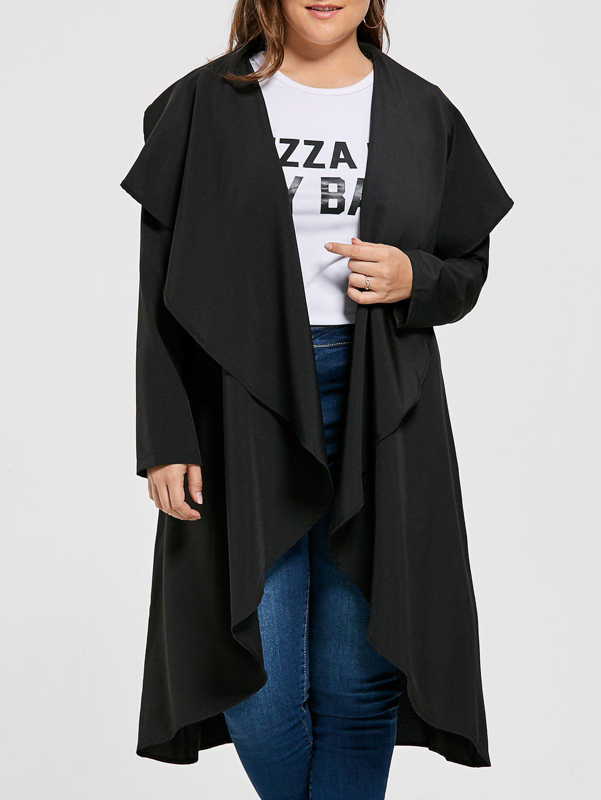Open Front Plus Size Drape Maxi CoatWOMEN<br><br>Size: 3XL; Color: BLACK; Clothes Type: Trench; Material: Cotton Blends,Polyester; Type: Asymmetric Length; Shirt Length: X-Long; Sleeve Length: Full; Collar: Collarless; Pattern Type: Solid; Style: Fashion; Season: Fall,Winter; Weight: 0.4600kg; Package Contents: 1 x Coat;