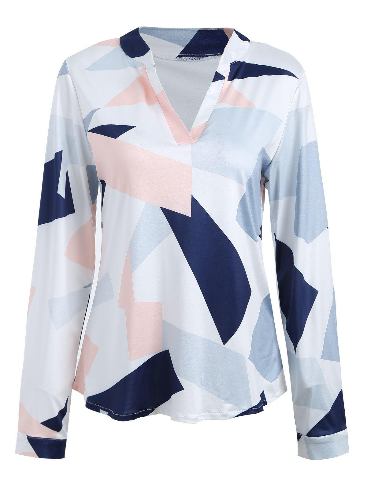Color Block V Neck Long Sleeve BlouseWOMEN<br><br>Size: M; Color: COLORMIX; Style: Casual; Material: Polyester,Spandex; Shirt Length: Regular; Sleeve Length: Full; Collar: V-Neck; Pattern Type: Print; Season: Fall,Spring; Elasticity: Elastic; Weight: 0.2400kg; Package Contents: 1 x Blouse;