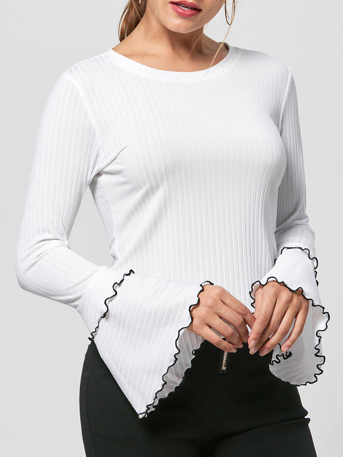 Cheap Striped Layered Flare Sleeve Knit Top