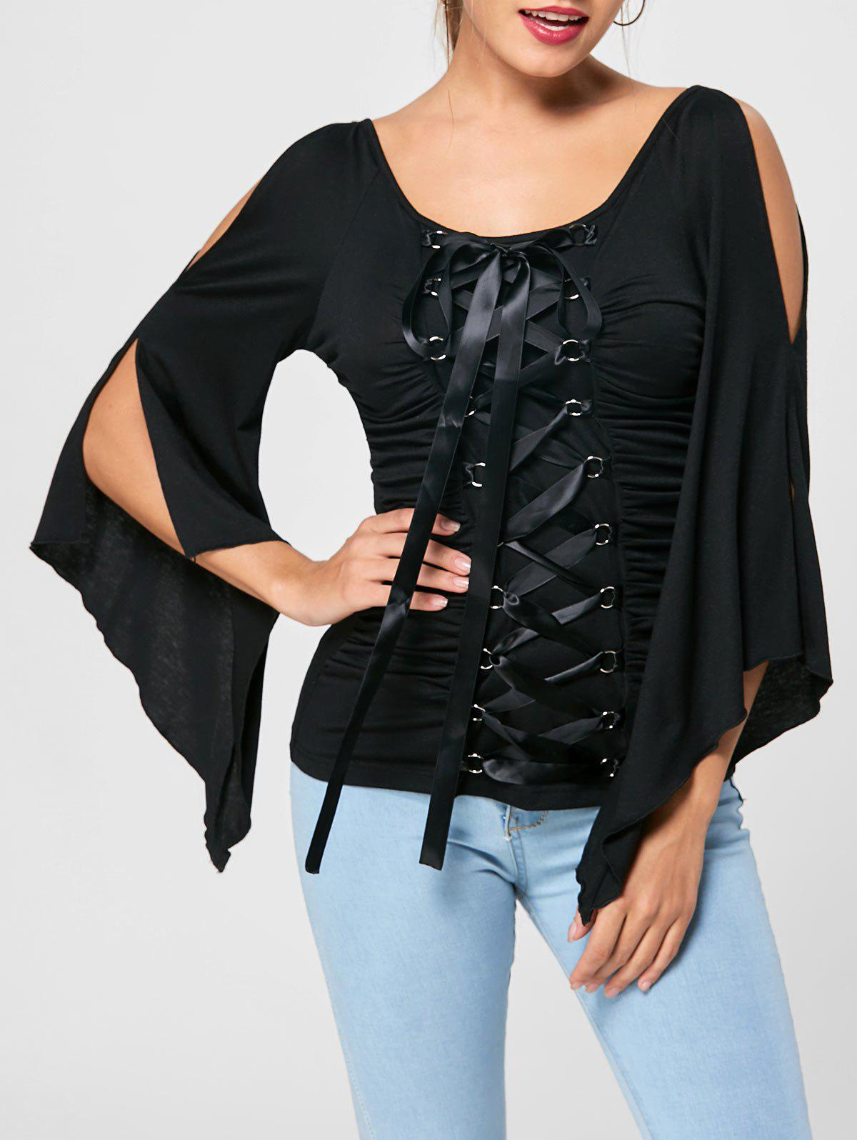 Lace Up Ruched Flare Sleeve TopWOMEN<br><br>Size: L; Color: BLACK; Material: Polyester,Spandex; Shirt Length: Regular; Sleeve Length: Full; Collar: V-Neck; Style: Gothic; Pattern Type: Solid Color; Season: Fall,Spring,Summer; Weight: 0.2800kg; Package Contents: 1 x Top;
